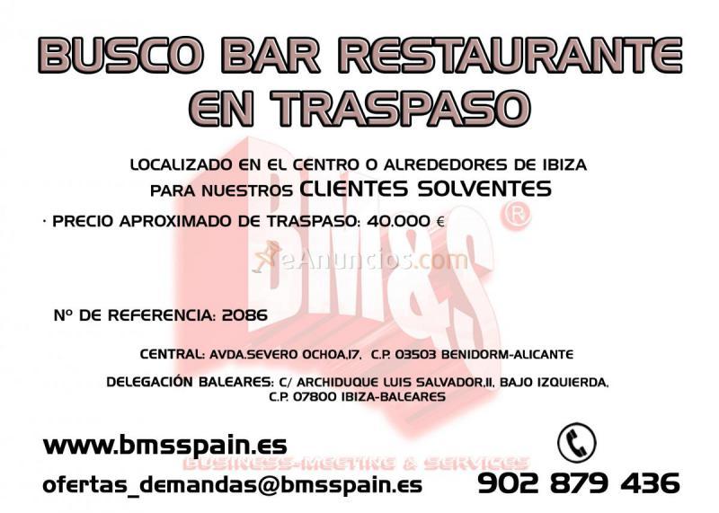 BUSCO BAR RESTAURANTE EN TRASPASO