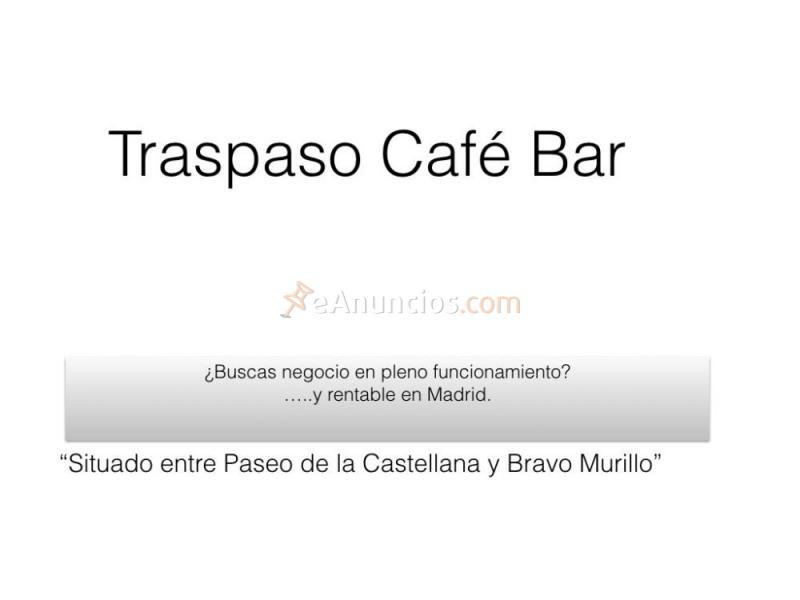 Traspaso café bar en funcionamiento madrid cuzco